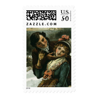1887: A man tries to kiss a shy woman Postage