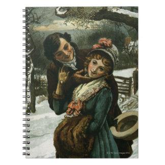 1887: A man tries to kiss a shy woman Spiral Notebook
