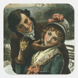 1887: A man tries to kiss a shy woman Square Sticker