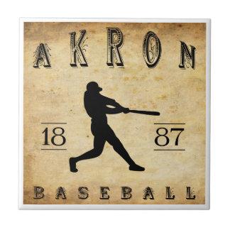 1887 Akron Ohio Baseball Small Square Tile