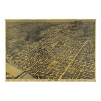 1887 Austin, TX Bird's Eye View Panoramic Map Poster