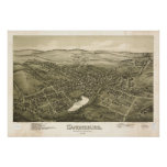 1887 Canonsburg, PA Birds Eye View Panoramic Map Posters