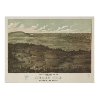 1887 Chattanooga, TN Birds Eye View Panoramic Map Print