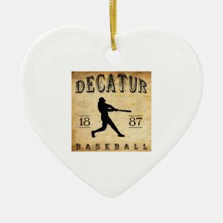 1887 Decatur Illinois Baseball Ceramic Ornament