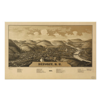 1887 Deposit, NY Birds Eye View Panoramic Map Poster