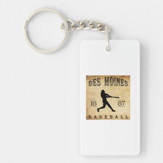 1887 Des Moines Iowa Baseball Double-Sided Rectangular Acrylic Keychain