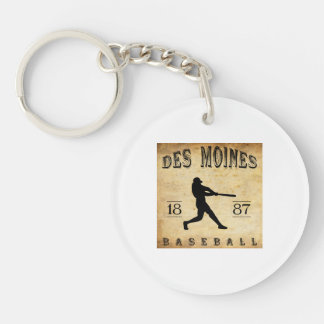 1887 Des Moines Iowa Baseball Double-Sided Round Acrylic Keychain