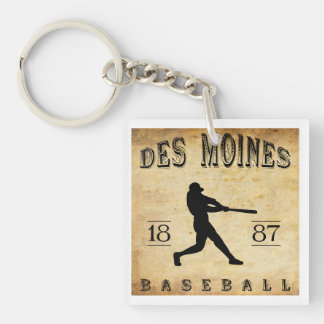 1887 Des Moines Iowa Baseball Double-Sided Square Acrylic Keychain