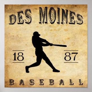 1887 Des Moines Iowa Baseball Poster