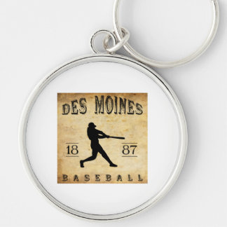 1887 Des Moines Iowa Baseball Silver-Colored Round Keychain