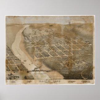 1887 Eagle Pass, TX Birds Eye View Panoramic Map Print