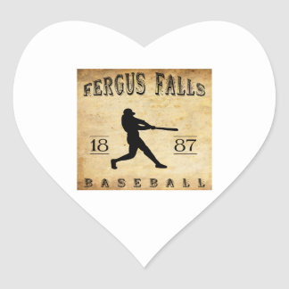 1887 Fergus Falls Minnesota Baseball Heart Sticker