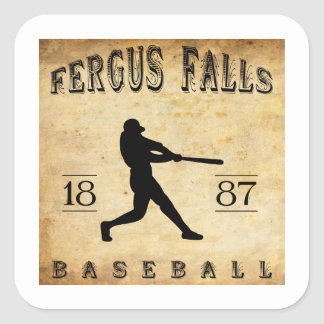 1887 Fergus Falls Minnesota Baseball Square Sticker