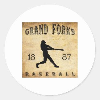 1887 Grand Forks North Dakota Baseball Classic Round Sticker