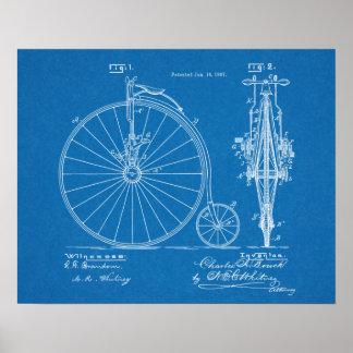 1887 High Wheeler Bicycle Design Patent Art Print