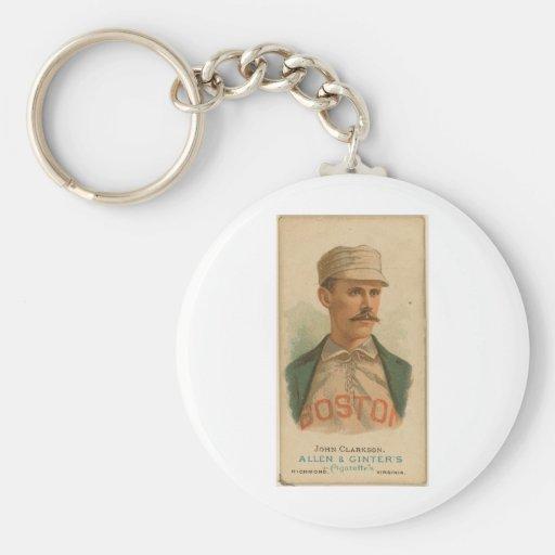 1887 John Clarkson Basic Round Button Keychain