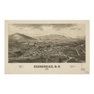 1887 Keeseville, NY Birds Eye View Panoramic Map Poster