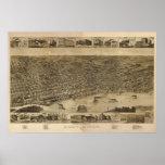 1887 Memphis, mapa panorámico de la opinión de ojo Posters