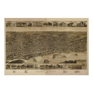 1887 Memphis, TN Birds Eye View Panoramic Map Poster