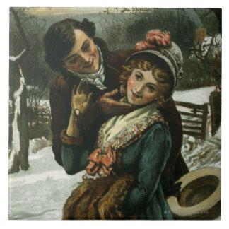 1887: Un hombre intenta besar a una mujer tímida Azulejo Cuadrado Grande