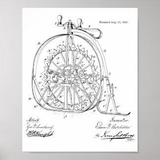 1887 Vintage Ice High Wheeler Bicycle Patent Print