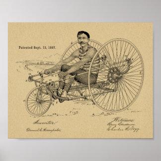 1887 Vintage Tricycle Bicycle Patent Art Print