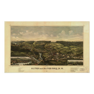 1888 Alton & Alton Bay, NH Birds Eye Panoramic Map Poster