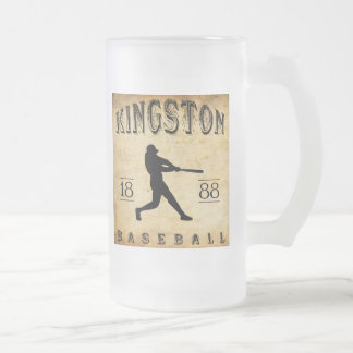1888 Kingston Ontario Canada Baseball Frosted Glass Beer Mug