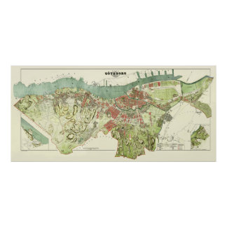 1888 Map of Gothenburg Sweden by Ludvig Simon Poster
