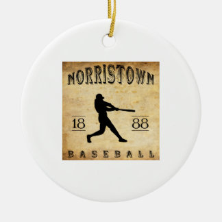 1888 Norristown Pennsylvania Baseball Double-Sided Ceramic Round Christmas Ornament