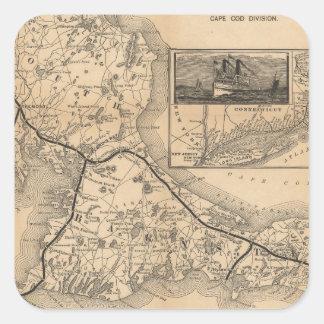 1888_Old_Colony_Railroad_Cape_Cod_map Pegatina Cuadrada