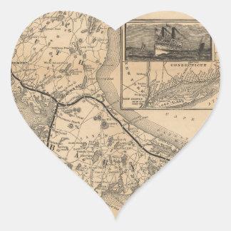 1888_Old_Colony_Railroad_Cape_Cod_map Pegatina En Forma De Corazón