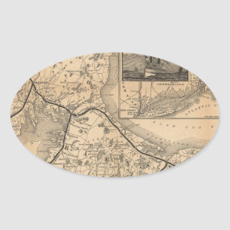 1888_Old_Colony_Railroad_Cape_Cod_map Pegatina Ovalada