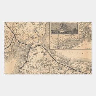 1888_Old_Colony_Railroad_Cape_Cod_map Pegatina Rectangular