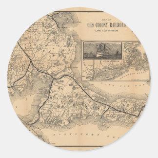 1888_Old_Colony_Railroad_Cape_Cod_map Pegatina Redonda
