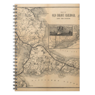 1888_Old_Colony_Railroad_Cape_Cod_map Spiral Notebook