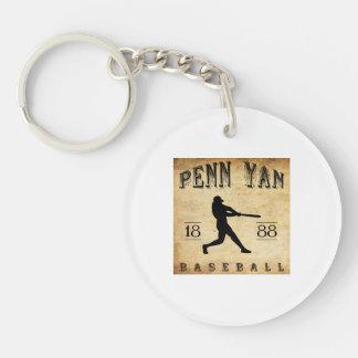 1888 Penn Yan New York Baseball Double-Sided Round Acrylic Keychain