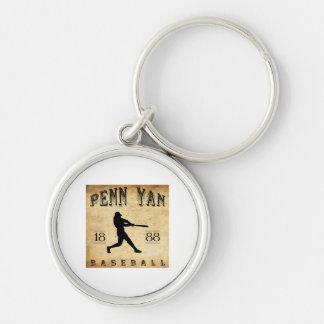 1888 Penn Yan New York Baseball Silver-Colored Round Keychain