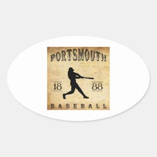 1888 Portsmouth New Hampshire Baseball Oval Sticker