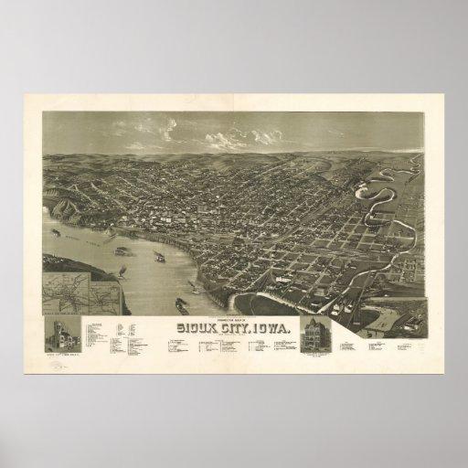 1888 Sioux City, mapa panorámico de la opinión de  Impresiones
