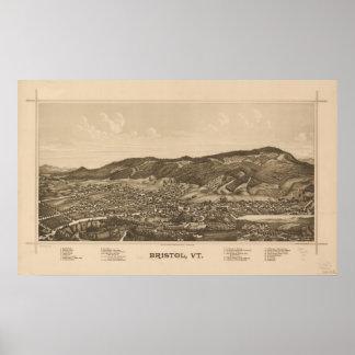 1889 Bristol, VT Bird's Eye View Panoramic Map Print