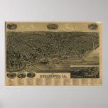 1889 Burlington, mapa panorámico de la opinión de  Impresiones
