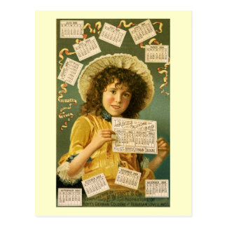 1889 Calendar cute girl Cologne ad Postcard