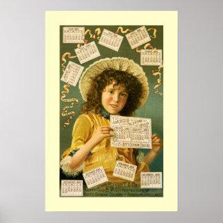 1889 Calendar cute girl Cologne ad Poster