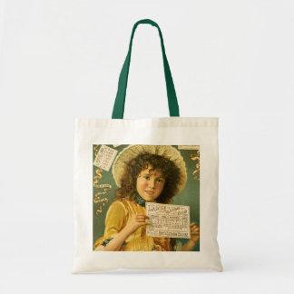 1889 Calendar cute girl Cologne ad Tote Bag