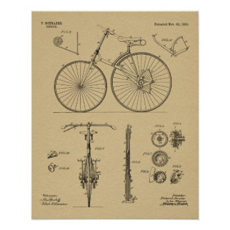 1889 Chainless Bicycle Patent Art Drawing Print