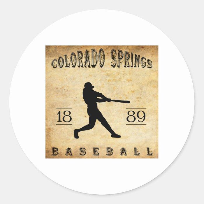 1889 Colorado Springs Colorado Baseball Classic Round Sticker