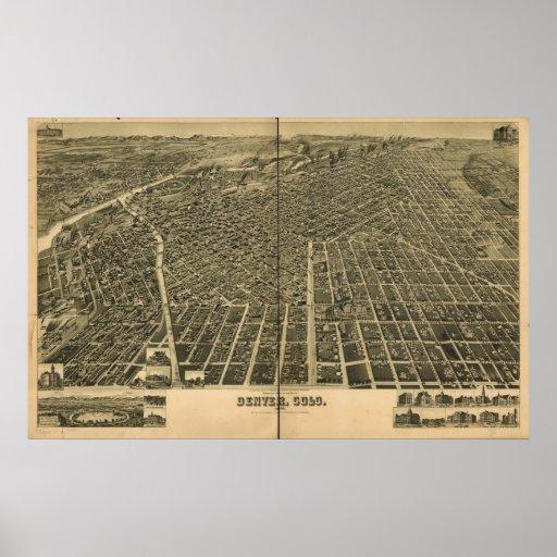 1889 Denver, mapa panorámico de la opinión de ojo  Póster