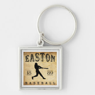 1889 Easton New Jersey Baseball Silver-Colored Square Keychain