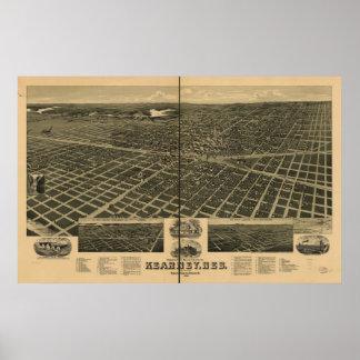 1889 Kearney mapa panorámico de la opinión de ojo Poster